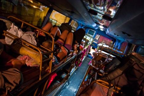 Un autobús cama en Laos, con camas de verdad