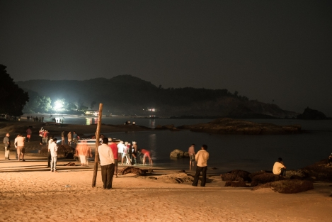 Fin de año Om beach, Gokarna, India