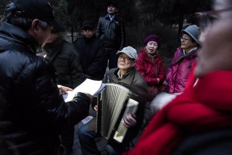 Cantores en parque  Jingshan, Beijing