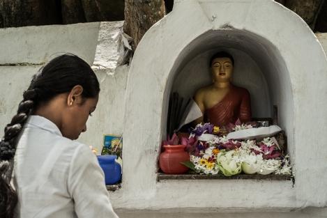 Rezando en Kandy, Sri Lanka